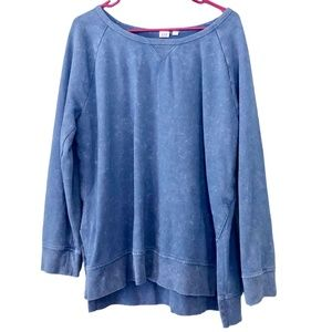 GAP Tunic Sweatshirt Blue Stonewashed Wide Neck